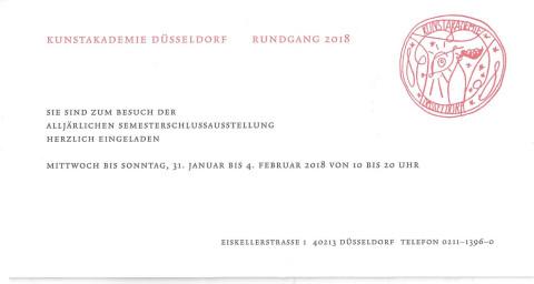 31.1. – 4.2.2018 Rundgang an der Kunstakademie Düsseldorf